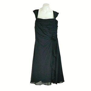 B2 Black Chiffon Pleated Sleeveless A-Line Dress